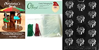 Cybrtrayd Pot of Poinsettias Chocolate Mold with Chocolatier's Bundle of 50 Cello Bags, 25 Green and 25 Red Twist Ties and Chocolatier's Guide