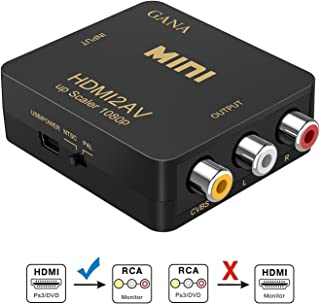 GANA HDMI to RCA,HDMI to AV, 1080P HDMI to 3RCA CVBS AV Composite Video Audio Converter Adapter Supports PAL/NTSC with USB Charge Cable for PC Laptop HDTV DVD-Black