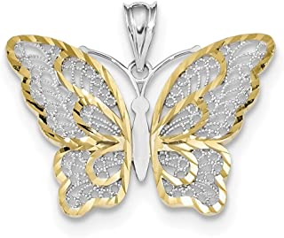 Lex & Lu 14k Yellow Gold w/White Rhodium Polished Filigree Butterfly Pendant