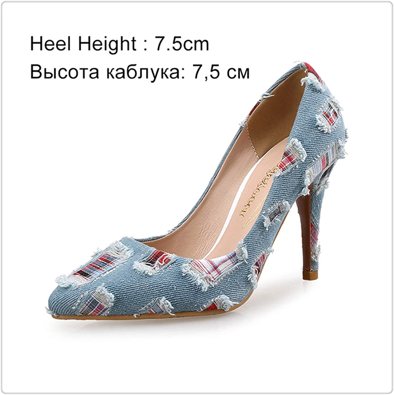 Dmoshibei Women Pumps High Heels shoes Female Casual Thin Heel Denim Ladies shoes Fashion Slip On Pointed Toe Party shoes Heels Plus Size Light bluee 7.5cm 9.5