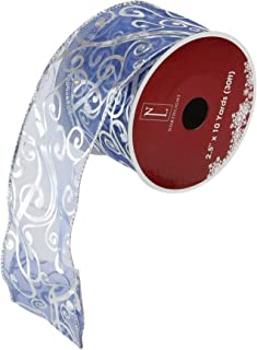 Northlight Blue and Silver Shiny Abstract Swirls Wired Christmas Craft Ribbon 2.5