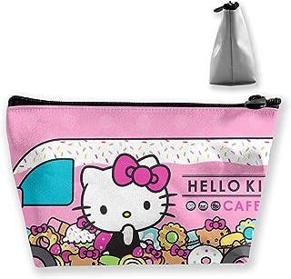JINUNNU Makeup Bag Cosmetic Pouch Hello Kitty Cafe Car Multi-Functional Trapezoidal Storage Bag Travel Kit Organizer