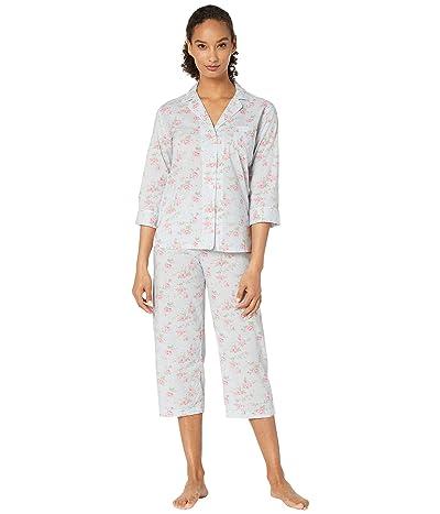 LAUREN Ralph Lauren Cotton Rayon Lawn Woven 3/4 Sleeve Pointed Notch Collar Capri Pants Pajama Set (Blue Floral) Women