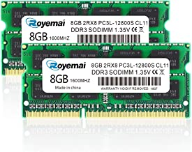 DDR3 Ram 16GB, DDR3 1600, PC3-12800, ROYEMAI DDR3 16GB Kit (2X8GB) PC3L-12800S 8GB DDR3L-1600 sodimm DDR3 RAM 2Rx8 1.35v/1.5v CL11 Notebook RAM Memory for Laptop Computer