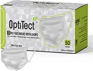 OptiTect Disposable Face Mask -White Face Mask-3 Layer Protection-Sealed Box of 50 Face Protection Masks
