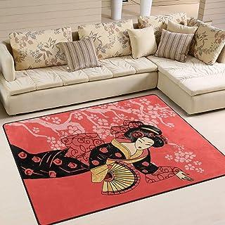Porte Tapis Paillasson Belle Geisha Japonaise Douce pour Salon Chambre Maison Cuisine Personnalisée 80 x 58 Pouces Tapis