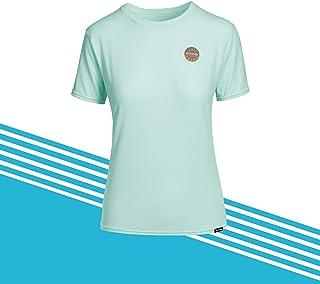 Dakine Womens Dauntless Loose Fit Short Sleeve Rash Vest Top Black - 6.5 oz Loose fit surf Shirt - UPF 50+ Sun Protection