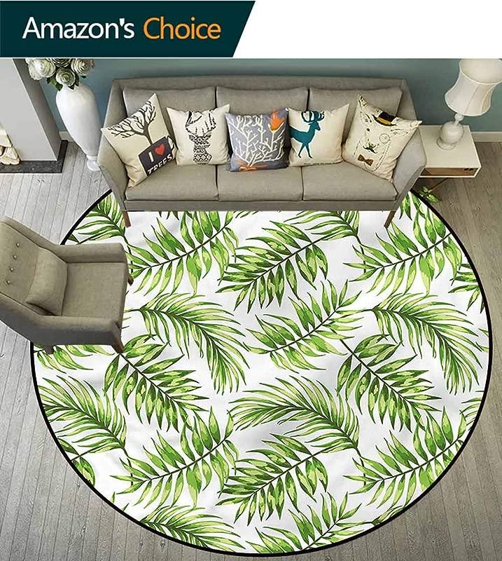 RUGSMAT Leaf Super Soft Circle Rugs For Girls Tropic Island Jungle Beach Foam Mat Living Room Decor Diameter 24