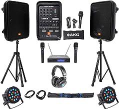 "JBL EON208P 8"" Powered Bluetooth Speakes+Mixer+Stands+Wireless Mics+Headphones"
