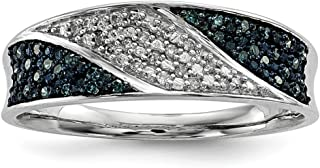 925 Sterling Silver Blue White Diamond Band Ring Fine Jewelry For Women Gift Set