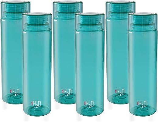 Cello H2O Unbreakable Premium Edition Bottle, 1 Litre, Set of 6, Sea Green