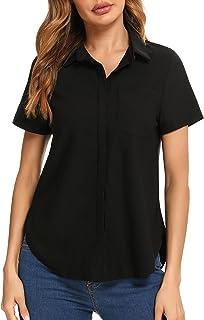 Irevial Camisa Manga Corta Mujer Elegante Blusas Verano de Oficina Camiseta con Botones para Trabajo
