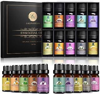 Lagunamoon Olio Essenziale per Diffusori, 10 Oli Essenziali Aromaterapia Puri Naturali per Diffusore e Massaggi, Olio Esse...