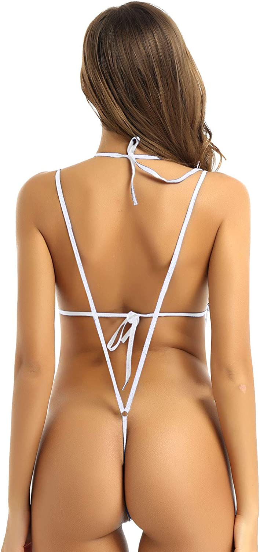 renvena Womens Swimsuit Tie On Bikini Cupless Bra Top Sling Shot Mirco Thongs Leotard Bathing Suit