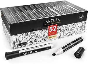 Arteza Rotuladores negros de pizarra blanca   Caja de 52 marcadores de pizarra con punta biselada   Tinta de olor bajo   Rotuladores borrables para el colegio, la oficina y el hogar