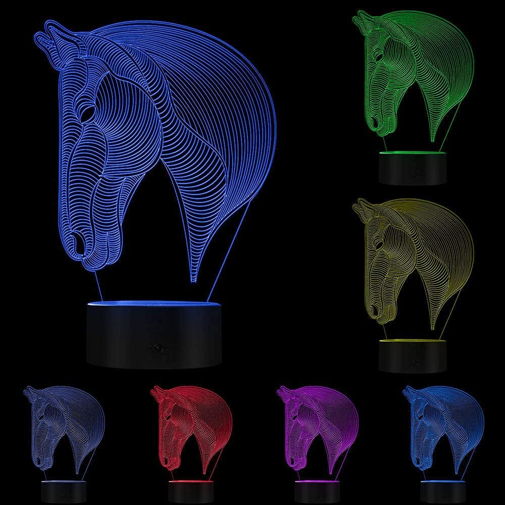 Eld 3D Very popular Horse Direct store Head LED Novelty Desk Calming Light Ani Night
