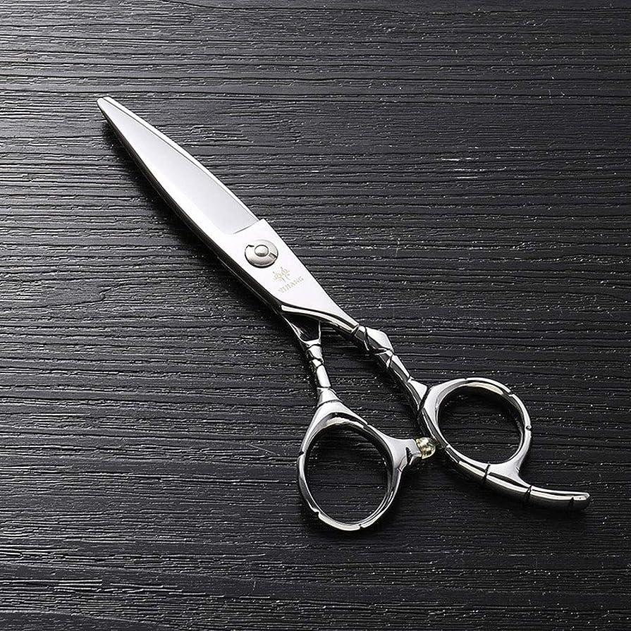 6インチのステンレス鋼のランセットの脂肪質の平らなせん断、美容院の専門の上限の理髪はさみ モデリングツール (色 : Silver)