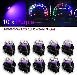 "PA 10x T10 168 194 Led instrument Panel Dash Light Bulb 1/2"" Twist Lock Socket -12V (Purple)"