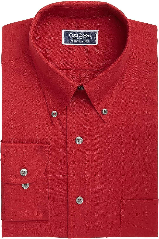 Club Room Mens Dress Shirt Claret Large 16-16 1/12 Performance Red L