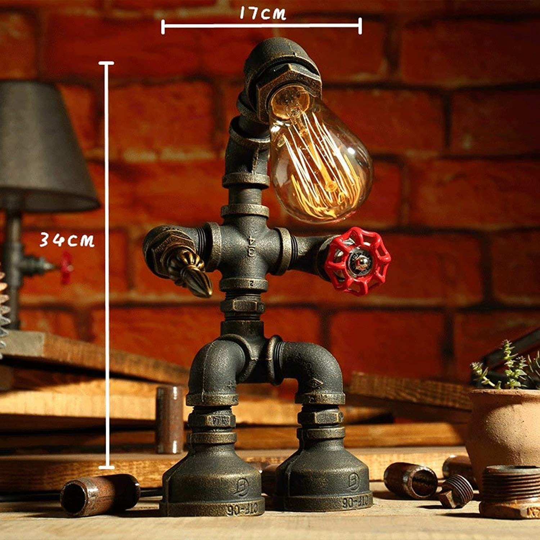 WHKFD Retro Iron Pipe Robot, Light Bar, Size A, H33Cm  W18Cm (Design  D)