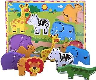Lewo Juguetes educativos Rompecabezas Gruesas Grande de Madera - Animales de Safari 7 Piezas