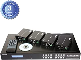 J-Tech Digital ProAV HDBaseT HDMI 2.0 HDCP 2.2 4K 4X4 HDMI Matrix Extender Switcher with 4 POE Receivers Over Single Cat5e/6 Cable Supports 4K@60Hz Control4 Driver [JTECH-4X4-HDBaseT]