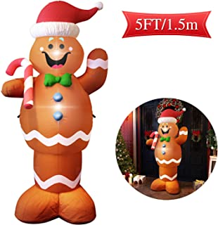MAJALiS Christmas Blow Up Yard Inflatables Decorations Cute Lights Hanging Lawn Holiday Outdoor Gingerbread Christmas Decoration Airblown Life Size Animated Waving Men Gingerbread Man Décor