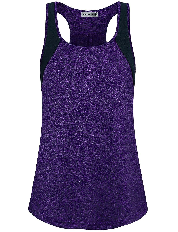 Miss Fortune Women's Short Sleeve Yoga Tops Cool Dri Workout T-Shirt