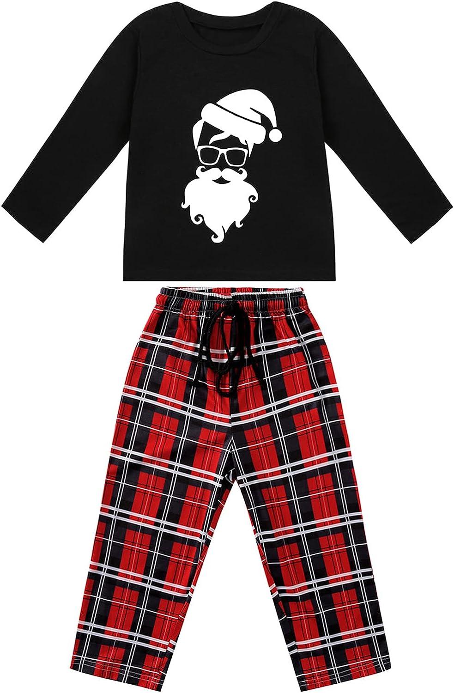 Matching Christmas Family Pajamas Plaid Microfleece Pajamas Set
