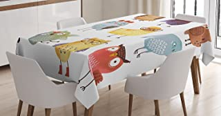 Ambesonne Funny Decor Tablecloth, Retro Hipster Bohemian Owls Birds Pattern Modern Fashion with Floral Fun Costumes Boho Decor , Rectangular Table Cover for Dining Room Kitchen, 60x84 Inches, Multi