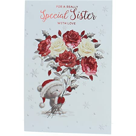 "Son Christmas Card Traditional Snowy House /& Gate Glitter /& Silver Foil  9x6/"""