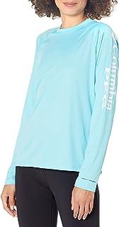 Women's PFG Tidal Tee II Long Sleeve Shirt , Clear Blue/White Logo, Medium
