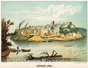 Historic Pictoric 1854 Print - Keokuck, Iowa. - Vintage Wall Art - 44in x 36in