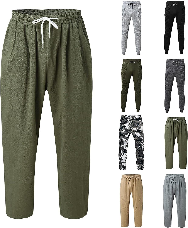 Huangse Mens Cotton Linen Drawstring Pants Elastic Waist Casual Baggy Harem Pants Jogger Yoga Bottoms