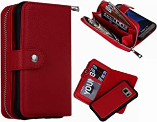 S7 Wallet Case, Magnetic Detachable S7 Wallet Purse Hynice Samsung Galaxy S7 Leather Folio Flip Slim Case with Zipper Credit Card Slots, Card Holder, Wrist Strap Wallet for Women Men(Lichi-Red)