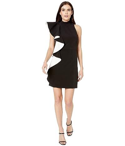 Halston Flounce Crepe Dress (Black/Chalk) Women