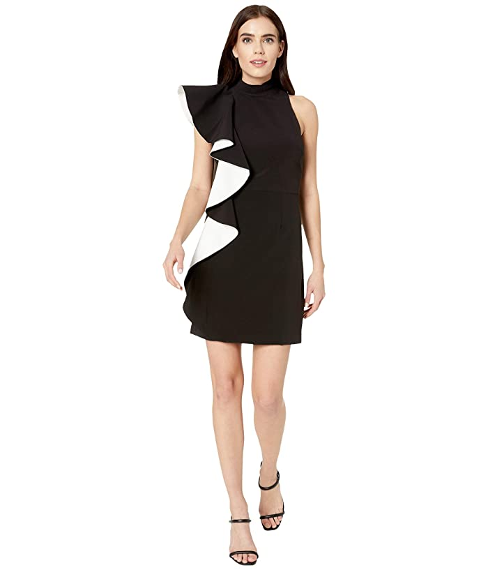 Halston  Flounce Crepe Dress (Black/Chalk) Womens Dress