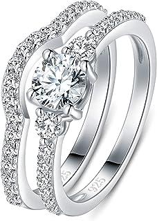 BORUO 925 纯银戒指,方晶锆石 CZ 永恒订婚结婚戒指