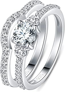 925 Sterling Silver Ring, Cubic Zirconia CZ 2pc Wedding Band Stackable Ring Set 4mm Size 4-12