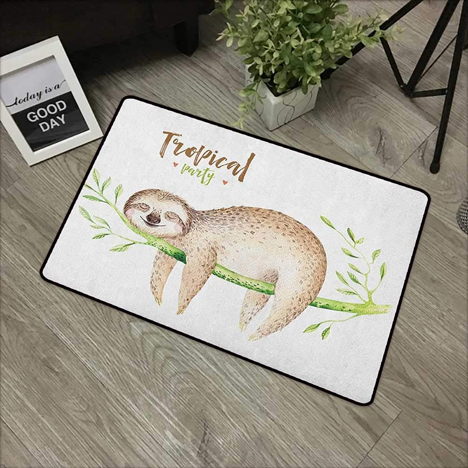 Pool anti-slip door mat W35 x L59 INCH Sloth,Young Animal Sleeping on Palm Branch Happy Dreams Wildlife Nature Watercolor, Pale Brown Green Easy to clean, no deformation, no fading Non-slip Door Mat C