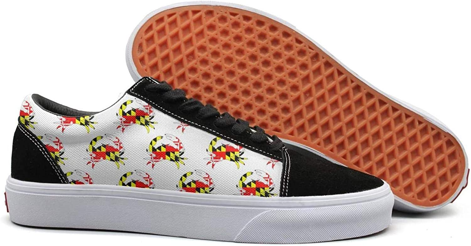 Maryland Crab Flag Crabby Silhouette Pattern Womens Lace up Loafers shoes Canvas Upper