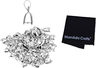 Mandala Crafts Metal Pinch Bail, Pendant Connector, Dangle Charm Clasp Clip for Jewelry Making; 50 PCs Finding Kit (Silver Tone, 6 x 17mm)