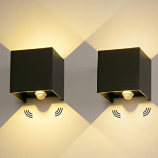 2 Pcs 12W Aplique pared LED con Sensor de Movimiento Blanco Cálido 3000K Lampara de Pared Interior/Exterior Impermeable IP...