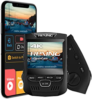 """Rexing V1 3rd Generation 4K UHD WiFi Car Dash Cam 2.4"""" LCD 170° Wide Angle Dashboard Camera Recorder with WiFi, 32GB Card,..."""