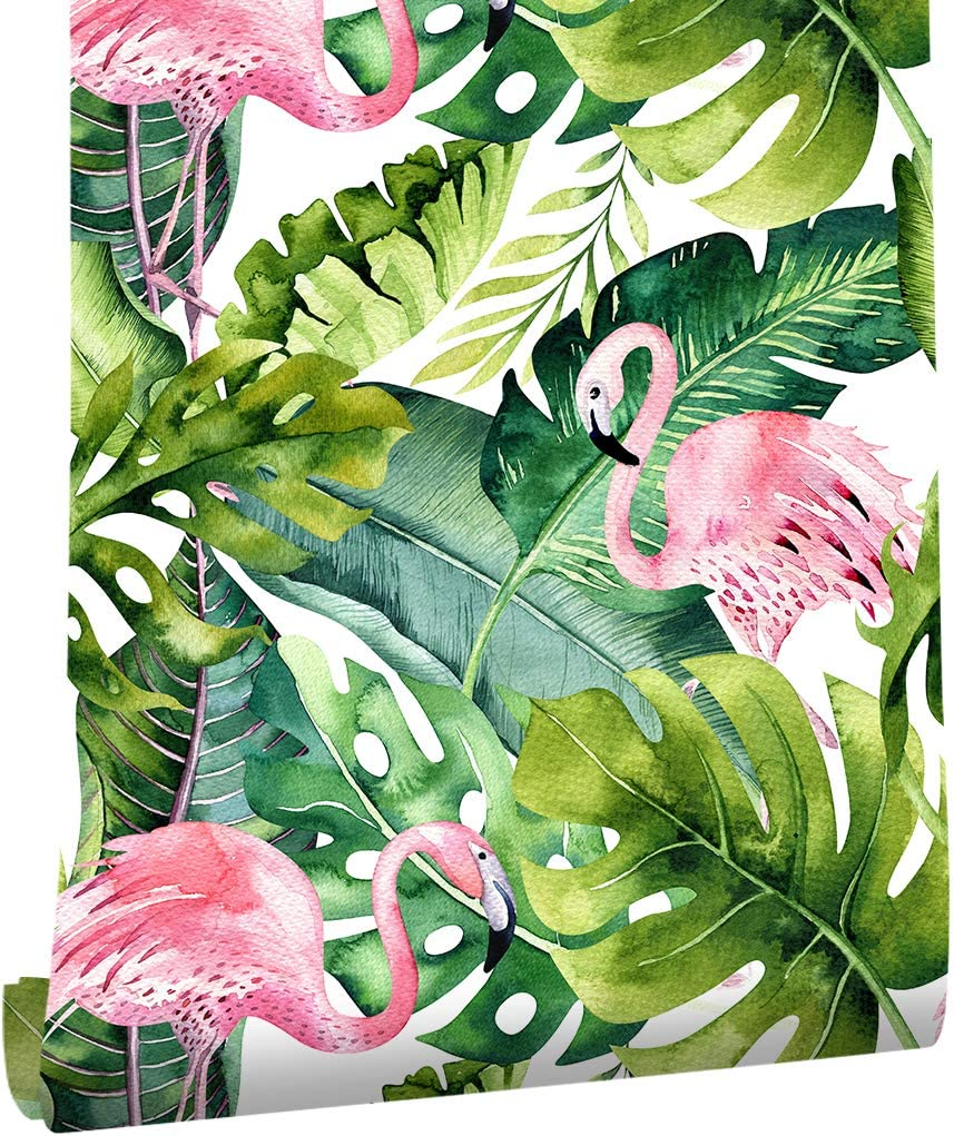 HaokHome 93013 Watercolor Flamingo Tropical Stick San Francisco 25% OFF Mall Wallp and Peel