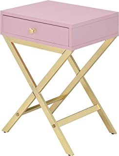 ACME Furniture Coleen Side Table, Pink & Gold