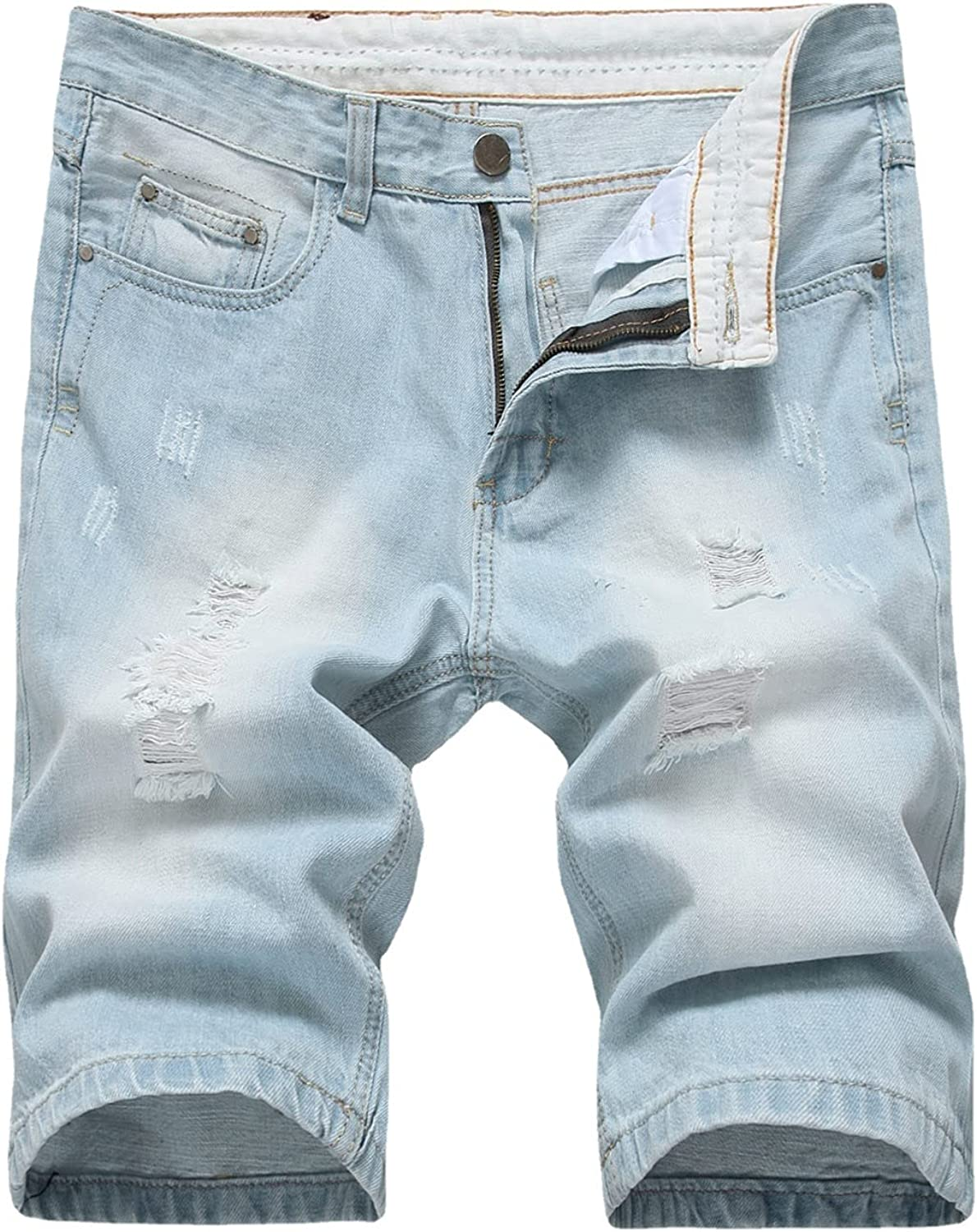 Men's Classic Fit Ripped Hole Denim Short Retro Washed Distressed Jeans Shorts Stretch Straight Casual Jean Shorts