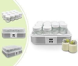 Leogreen - Yaourtière, Machine pour Yahourt Naturel, 12 pots, avec minuteur, 30,6 x 25 x 12,4 cm, Blanc, Capacité par pot:...