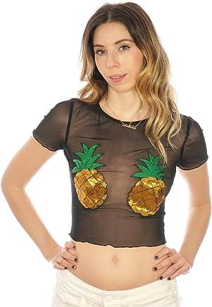 4cbc7f266b Shop Delfina Sequin Pineapple Sheer Mesh Fishnet Rave Women s Crop Top
