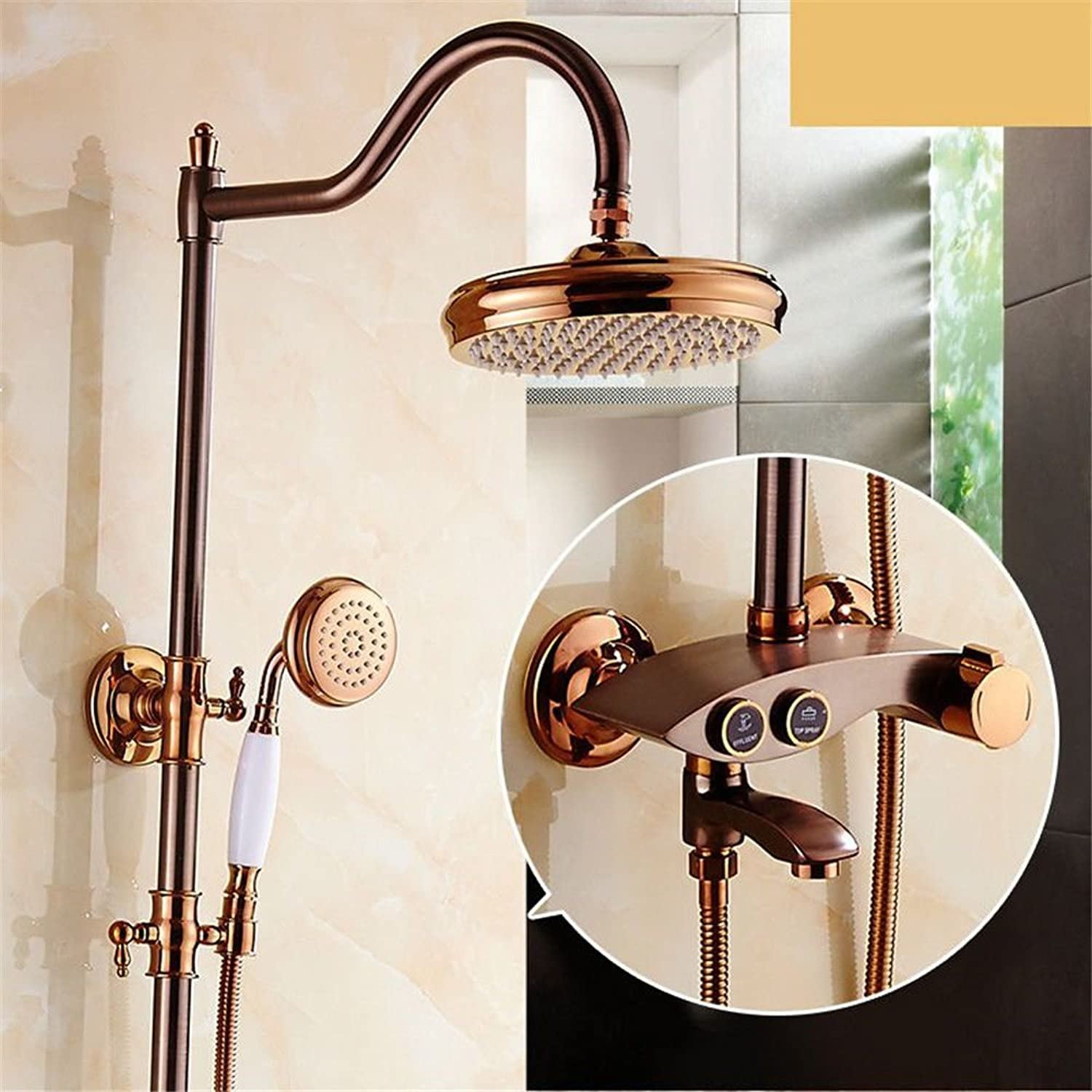 Hlluya Professional Sink Mixer Tap Kitchen Faucet Natural jade shower set pink gold brown full copper antique and cold water faucet shower system,